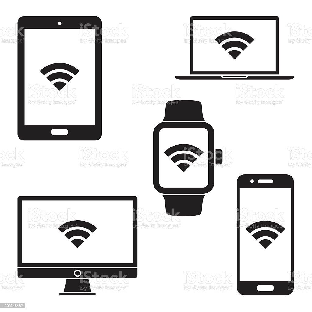 Moderni dispositivi digitali e icone. Vettoriale - illustrazione arte vettoriale
