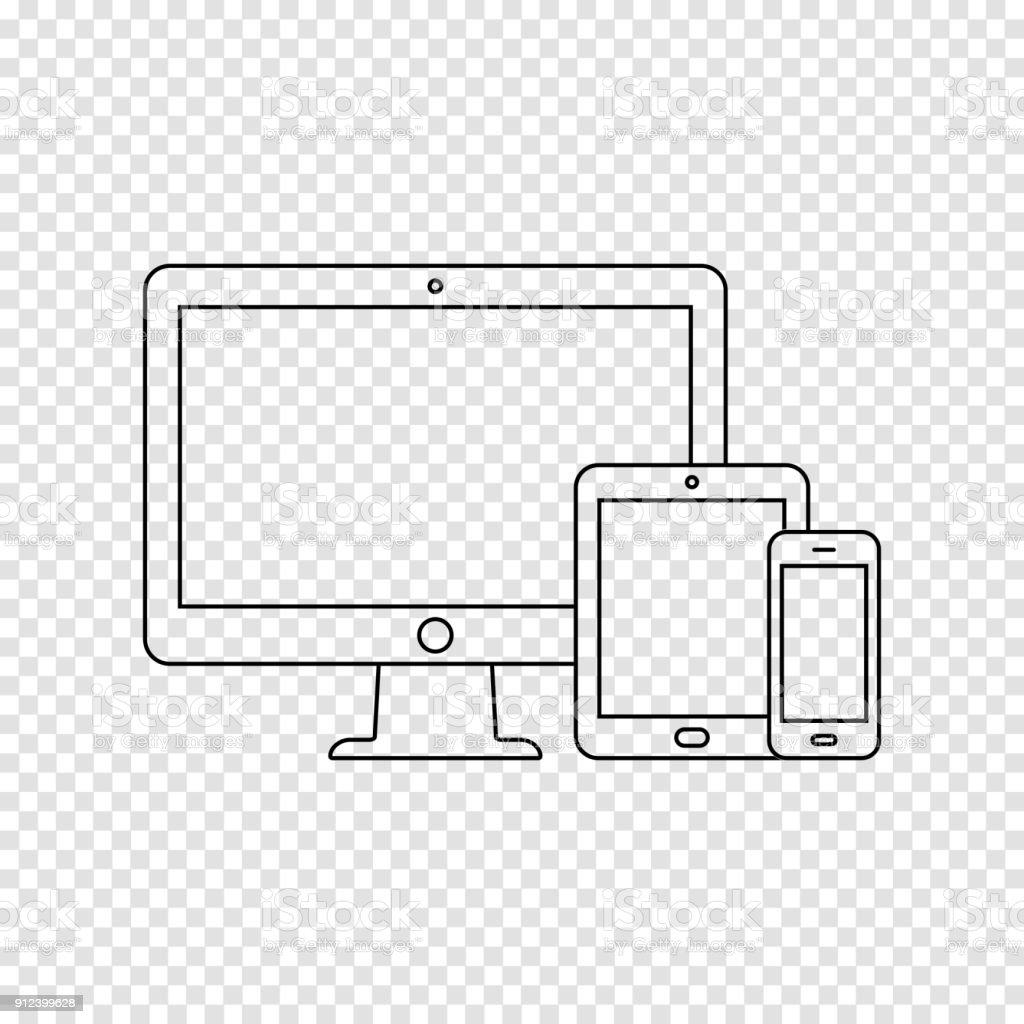 Moderne digitale Geräte dünne Liniensymbol auf transparenten Hintergrund – Vektorgrafik