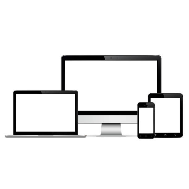 modern digital devices with blank screen - computer stock illustrations