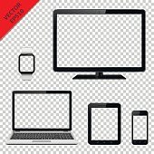 Computer monitor, laptop, tablet pc, mobile phone and smart watch with transparent screen. Isolated on transparent background. Vector EPS10 file.