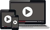 Modern digital devices with video player on screen
