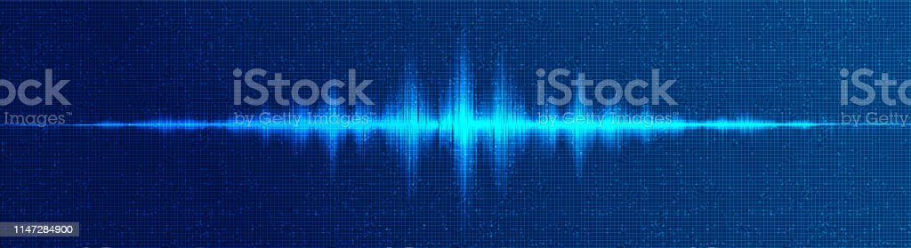 Modern Digital Sound Wave Low and Hight richter scale on Blue...