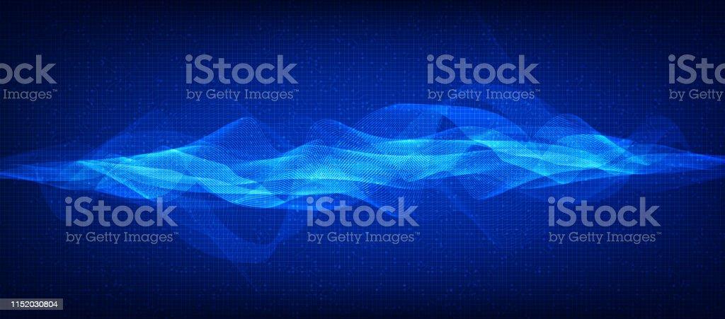 Modern Digital Sound Wave on Dark Blue Background,technology and...