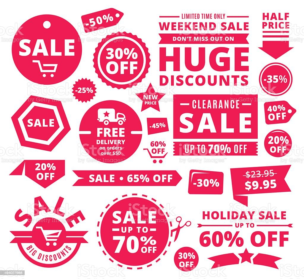 Modern Discount Sale Tags, Badges And Ribbons royalty-free modern discount sale tags badges and ribbons stock vector art & more images of 2015