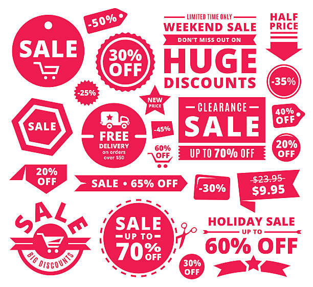 Modern Discount Sale Tags, Badges And Ribbons vector art illustration