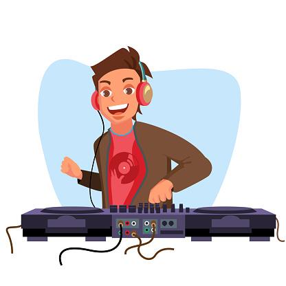 Modern Dj Vector. Playing Progressive Electro Music. Dj And Mixing Console. Night Club Concept. Flat Cartoon Illustration