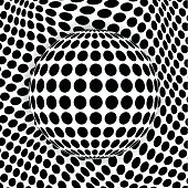 Modern dotted background with sphere 3d optical illusion.