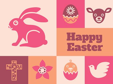 Modern Easter minimal greeting card