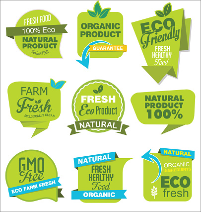 Modern ECO and NATURAL origami sale stickers and tags green collection