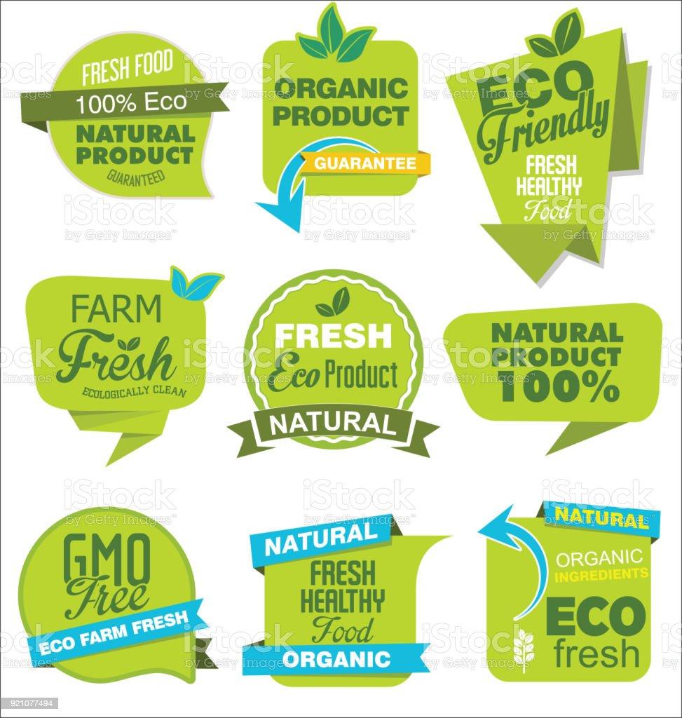 Moderne ECO und natürlichen Origami Verkauf Aufkleber und Tags grün-Auflistung – Vektorgrafik