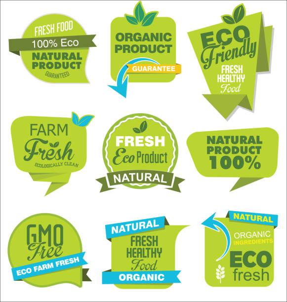 moderne eco und natürlichen origami verkauf aufkleber und tags grün-auflistung - bio lebensmittel stock-grafiken, -clipart, -cartoons und -symbole
