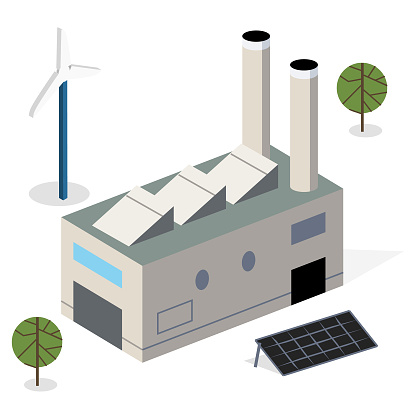 Modern eco facility with solar panel and windmill