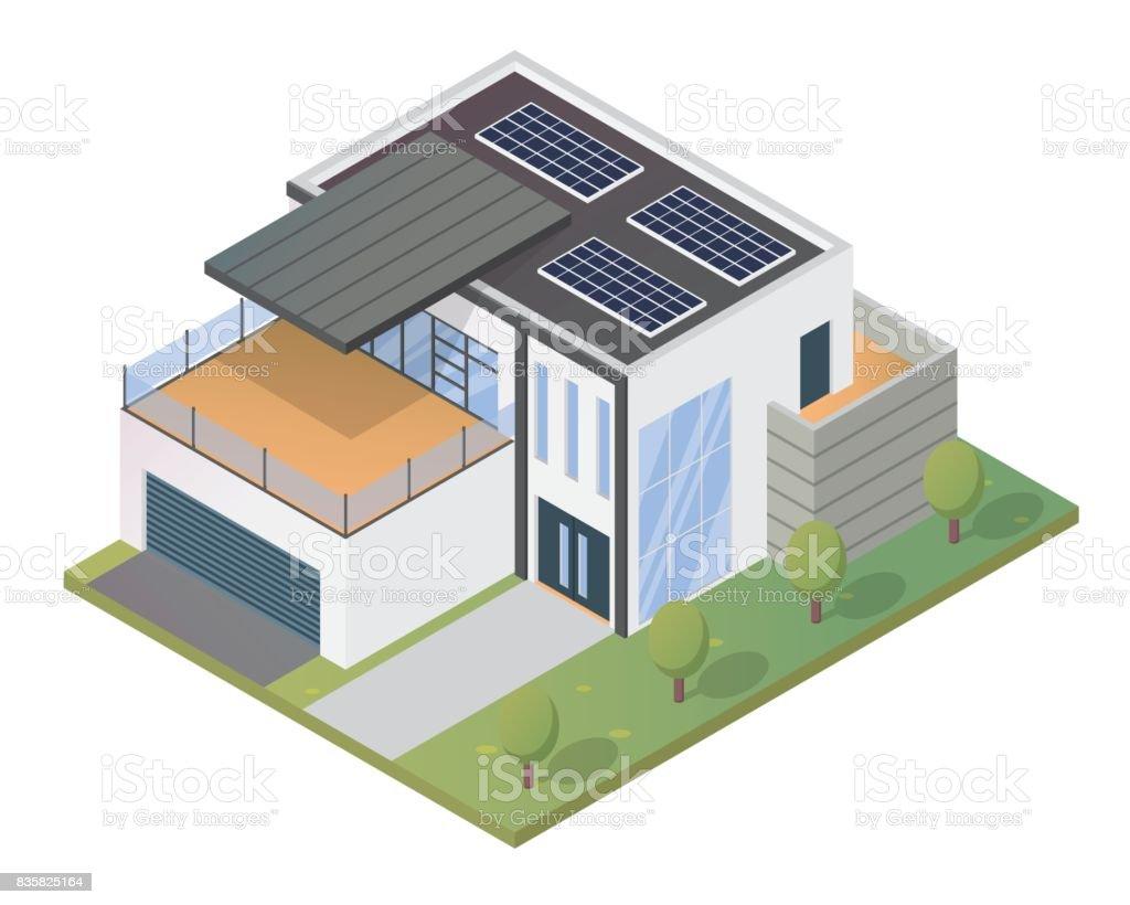 Moderne Umweltfreundliche Solar Panel Luxus Isometrische Haus Illustration  Lizenzfreies Moderne Umweltfreundliche Solarpanel Luxus Isometrische Haus