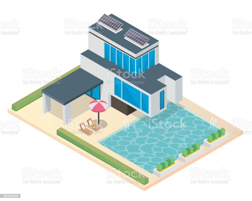 Superior Moderne Umweltfreundliche Solar Panel Luxus Isometrische Haus Illustration  Lizenzfreies Moderne Umweltfreundliche Solarpanel Luxus Isometrische Haus