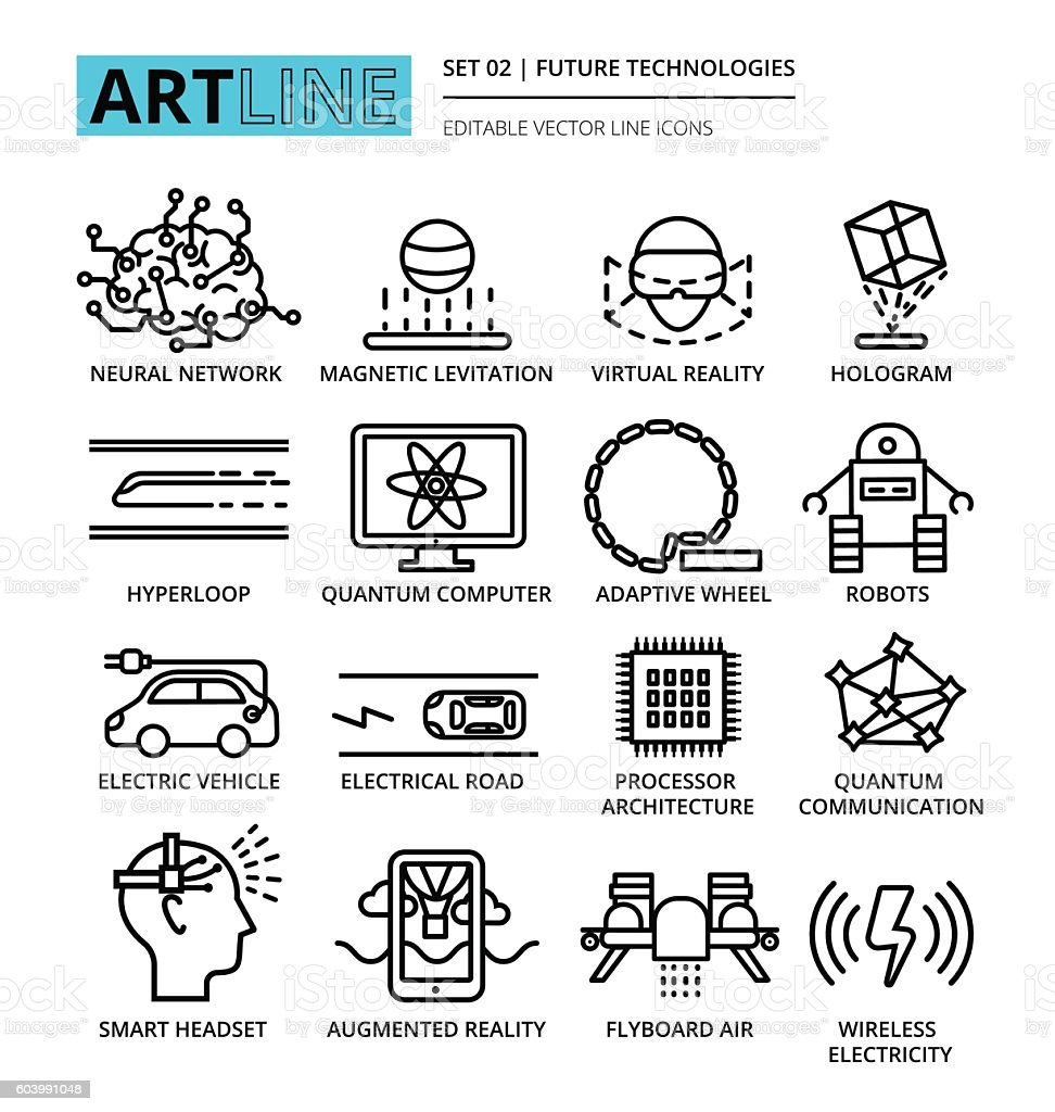Modern editable vector line icons set of future technologies and vector art illustration