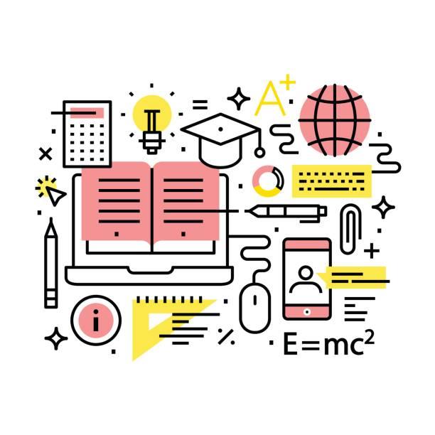 現代の教育とオンライン学習の概念 - 学校の文房具点のイラスト素材/クリップアート素材/マンガ素材/アイコン素材