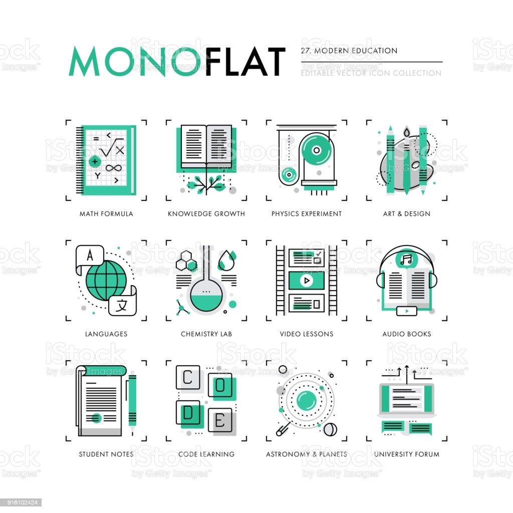 Educação moderna Monoflat ícones - ilustração de arte em vetor