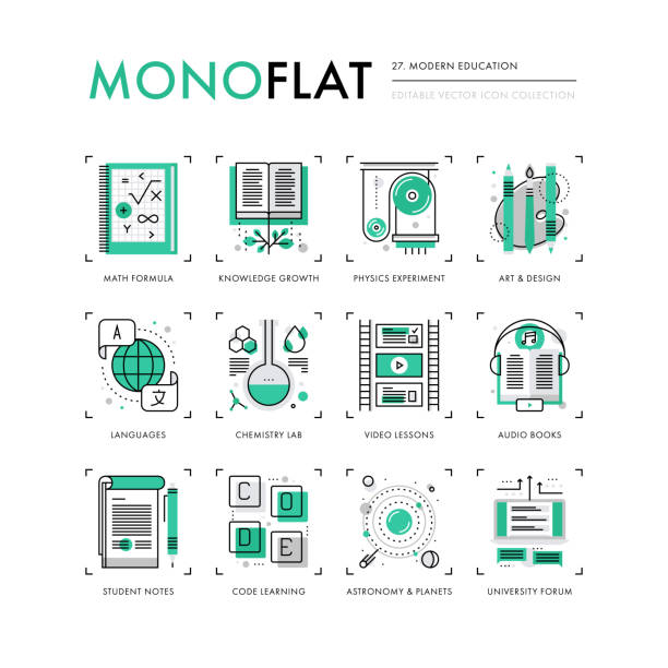 moderne ausbildung monoflat symbole - englischlernende stock-grafiken, -clipart, -cartoons und -symbole