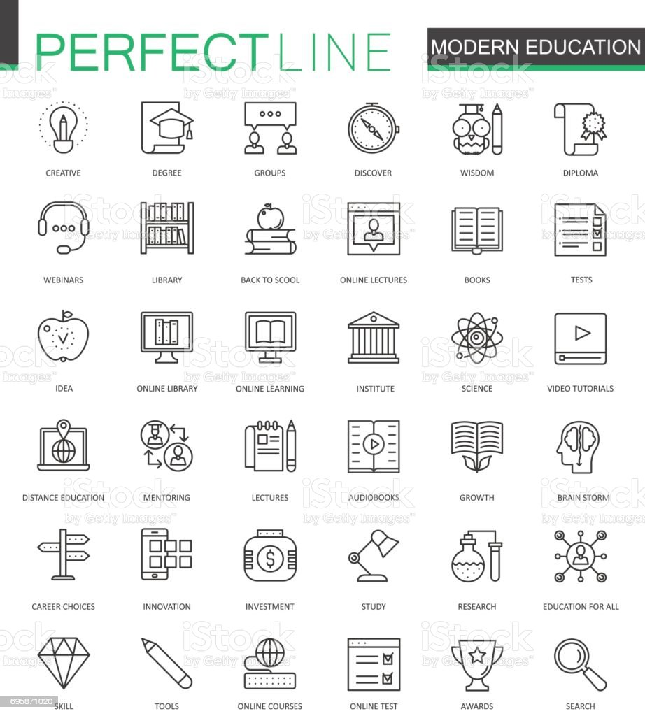 Modern education thin line web icons set. Online video training outline stroke icons design. vector art illustration