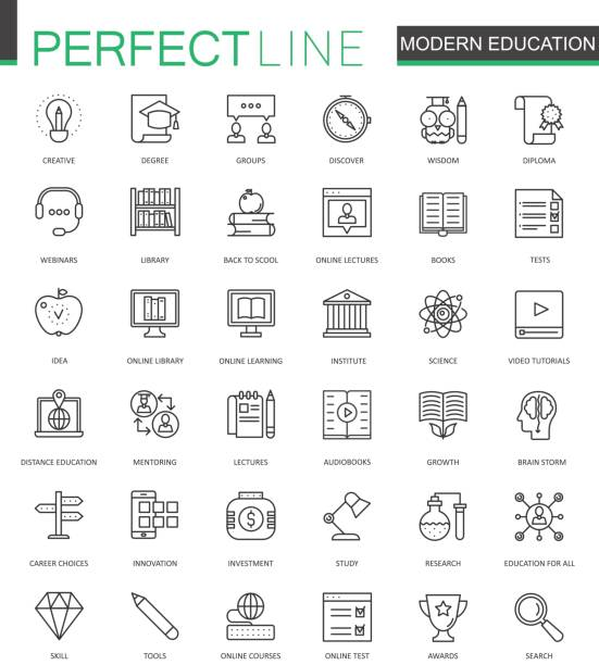 modern education thin line web icons set. online video training outline stroke icons design. - education icons stock illustrations, clip art, cartoons, & icons