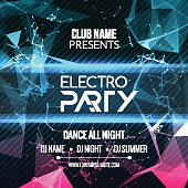 Modern Electro Party Template, Dance Party Flyer, brochure. Night Party Club Banner Poster