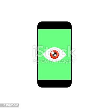 istock Modern electronic device with a human eye on display 1295983340