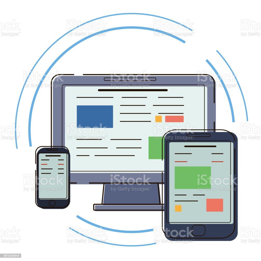 Moderne Elektronische Geräte Flache Darstellung Der Pc Tablet Und ...
