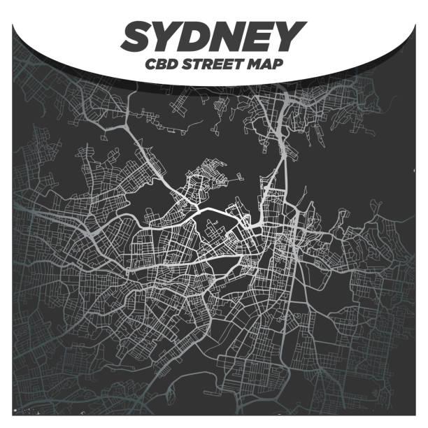 Modern, Elegant and Fancy City Street Map of Sydney Australia vector art illustration