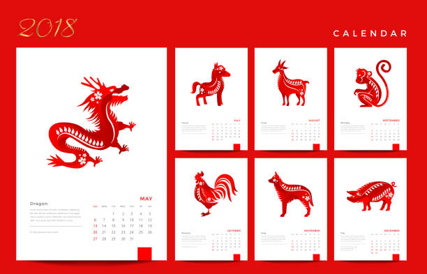 chinese horoscope symbol of new year calendar grid on january clip art vector images illustrations