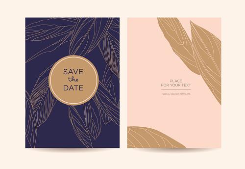 Modern elegant invitation. Golden graphic flowers on a dark blue background.
