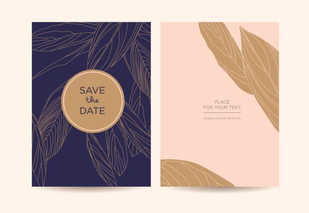 modern elegant invitation. golden graphic flowers on a dark blue background. - anniversary drawings stock illustrations