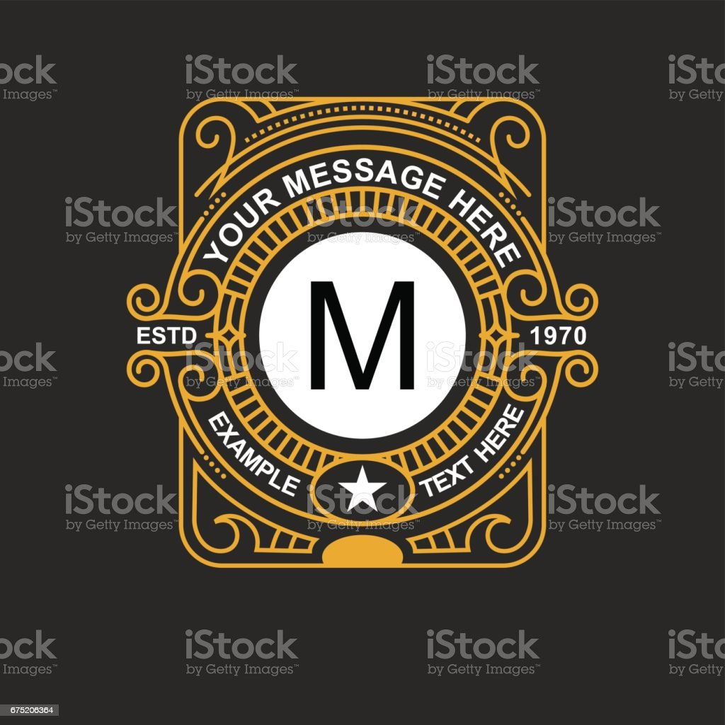 Modern emblem, badge, monogram template. Luxury elegant frame ornament line logo design vector illustration. Good for Royal sign, Restaurant, Boutique, Cafe, Hotel, Heraldic, Jewelry, Fashion royalty-free modern emblem badge monogram template luxury elegant frame ornament line logo design vector illustration good for royal sign restaurant boutique cafe hotel heraldic jewelry fashion stock vector art & more images of alphabet