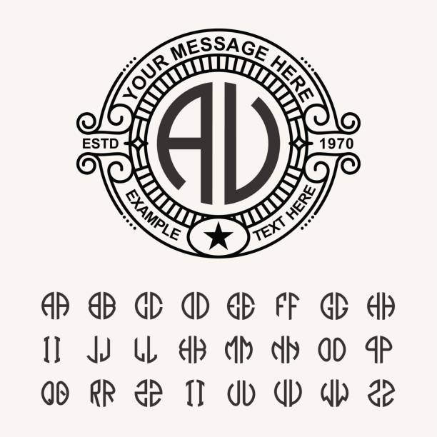 modern emblem, badge, template. luxury elegant frame ornament line logo design vector illustration. and set to create monograms of two letters in scribed in a circle - hipster fashion stock illustrations, clip art, cartoons, & icons