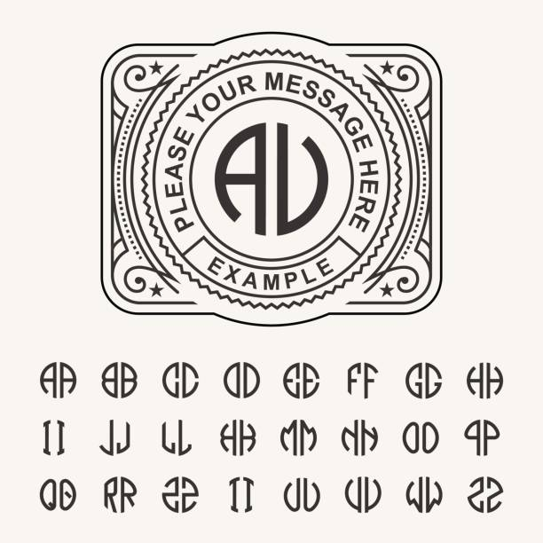 modern emblem, badge, template. luxury elegant frame ornament line logo design vector illustration. and set to create monograms of two letters in scribed in a circle - alphabet borders stock illustrations