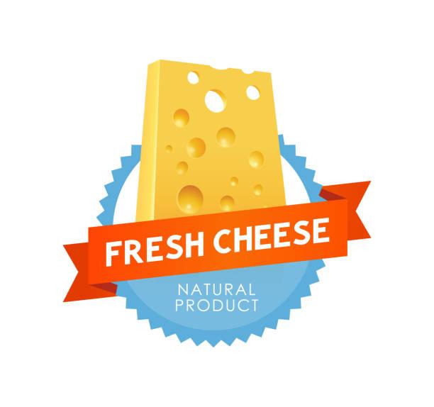 """ilustrações de stock, clip art, desenhos animados e ícones de modern emblem """"fresh cheese"""" - queijo"""