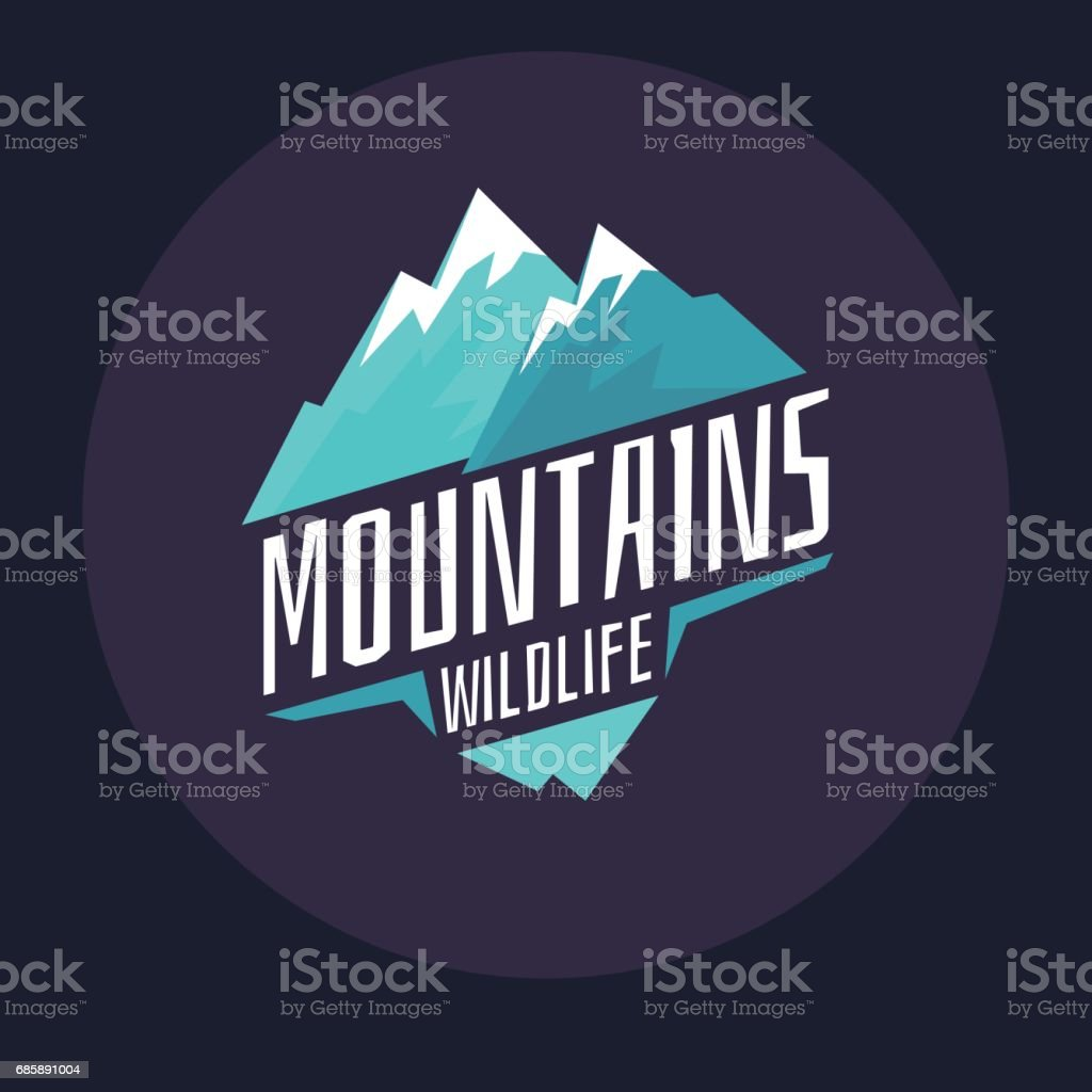 Modern emblem mountains with snow in the circle on a dark background vector art illustration