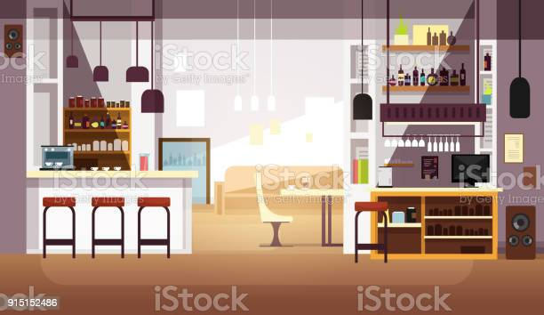 Modern empty bar or coffee shop vector flat interior vector id915152486?b=1&k=6&m=915152486&s=612x612&h=yymmjh ezzpj ww bgwl545vruvxx5ze8hqqrsyjh3w=