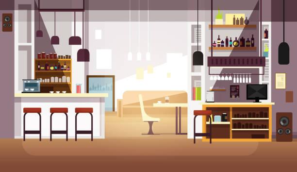 illustrazioni stock, clip art, cartoni animati e icone di tendenza di modern empty bar or coffee shop vector flat interior - ambientazione interna
