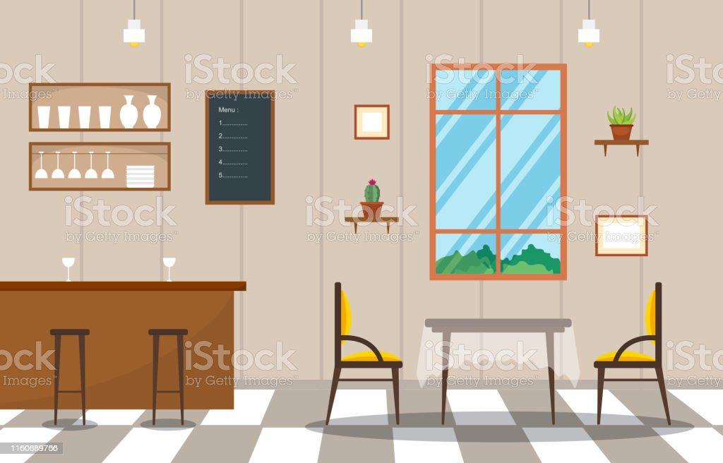 Ilustracion De Modern Empty Cafe Restaurant Interior Furniture Flat Vector Illustration Y Mas Vectores Libres De Derechos De Alimento Istock