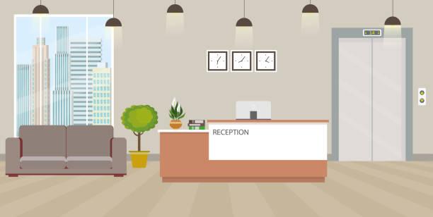 illustrations, cliparts, dessins animés et icônes de intérieur de réception vide moderne avec des meubles - hall d'accueil
