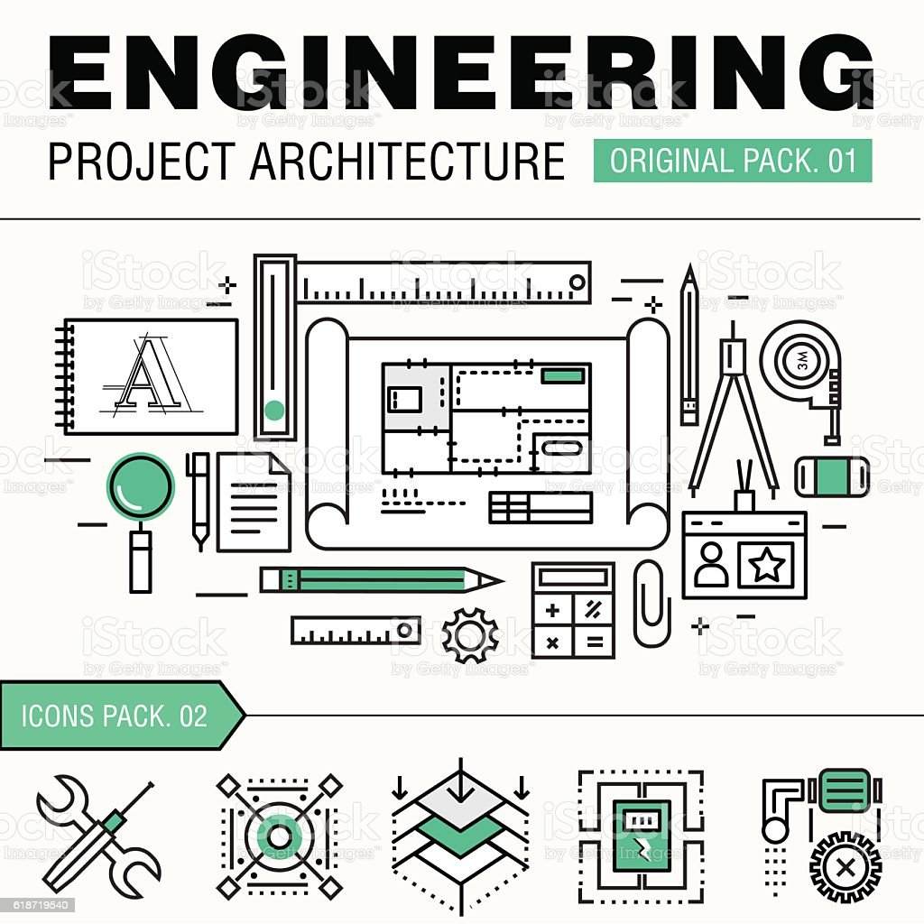 Modern engineering construction big pack. Thin line icons archit vector art illustration