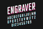 Modern engraved font, alphabet and numbers vector illustration