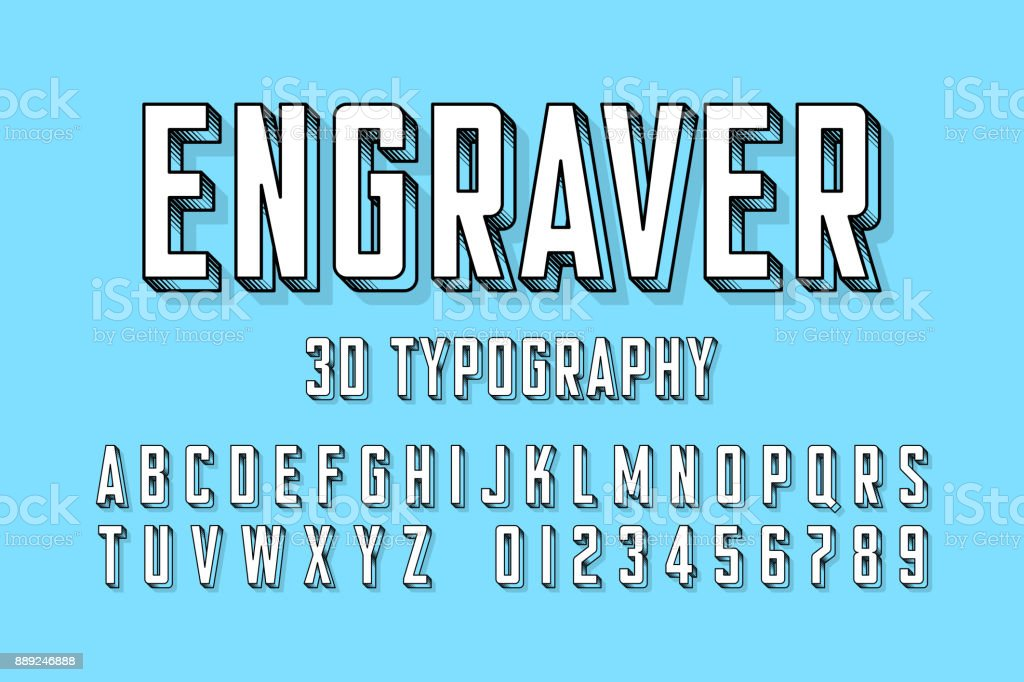 Modern engraved font vector art illustration