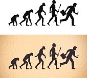 Modern evolution ape to man illustration concept. EPS 10 file. Transparency effects used on highlight elements.