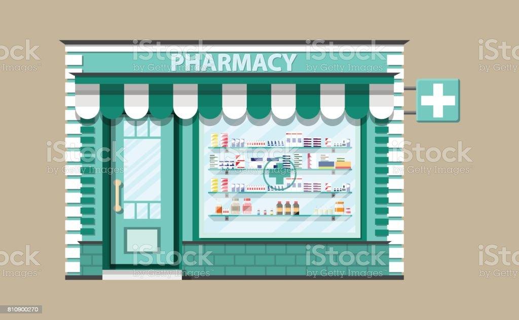 Modern exterior pharmacy or drugstore. vector art illustration