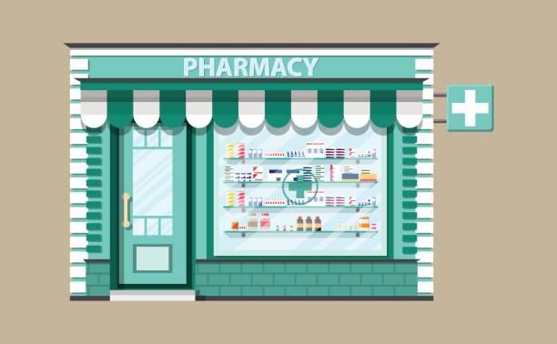 illustrations, cliparts, dessins animés et icônes de pharmacie extérieur moderne ou pharmacie. - vitrine magasin