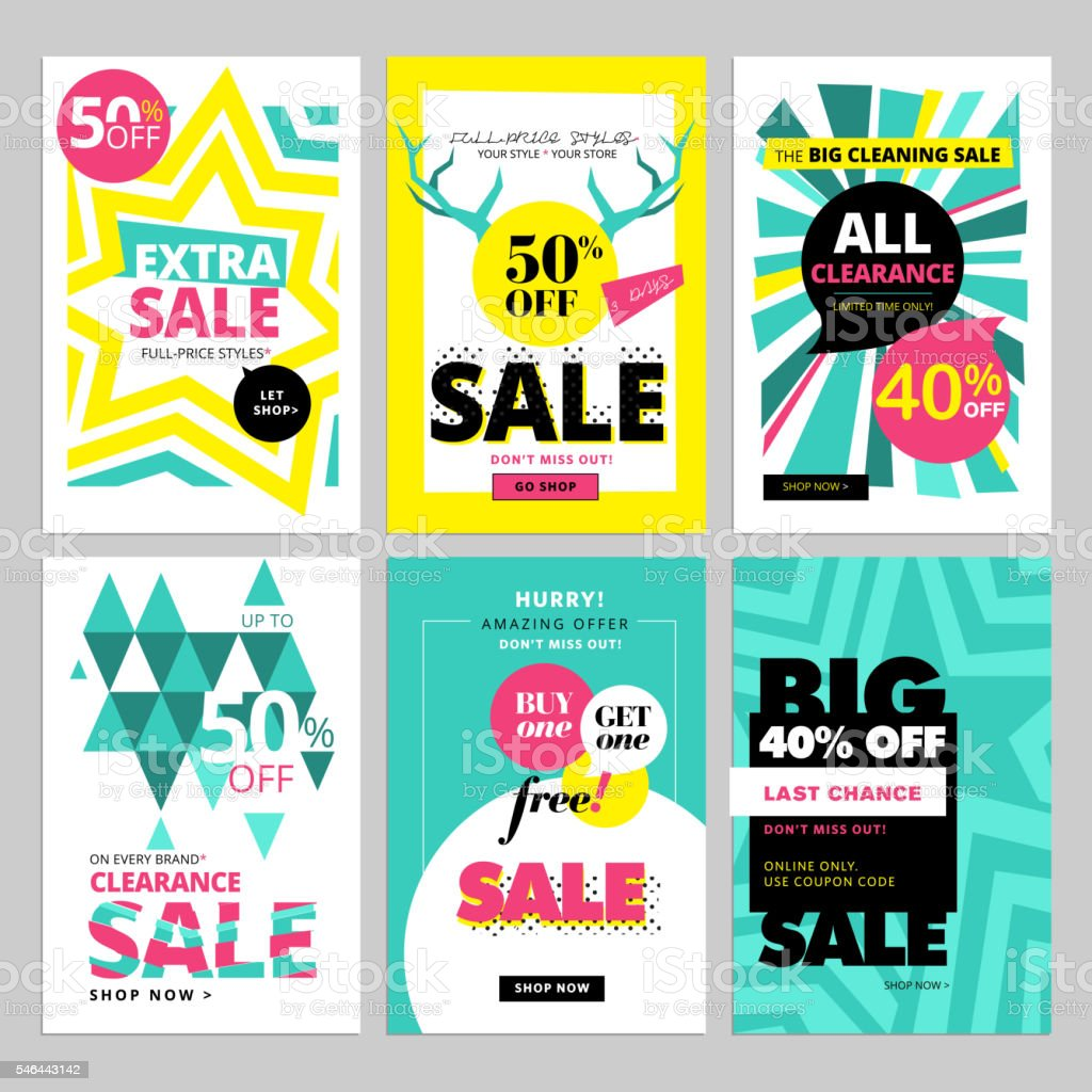 Modern eye catching social media sale banners векторная иллюстрация