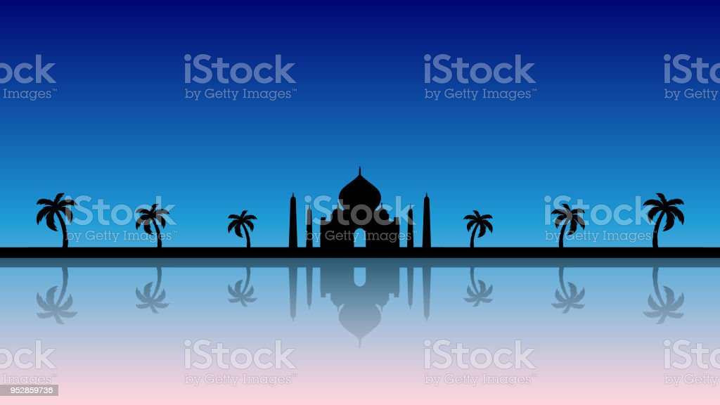 A modern fairytale background silhouette in blue vector art illustration