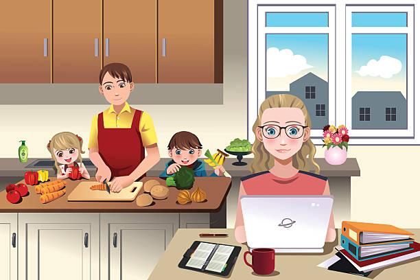 moderne familie ganz wie zu hause fühlen. - hausmannskost stock-grafiken, -clipart, -cartoons und -symbole