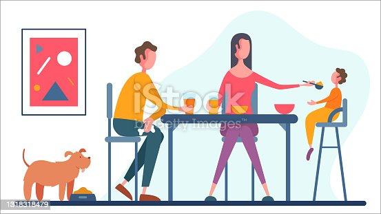 Modern family having breakfast at home